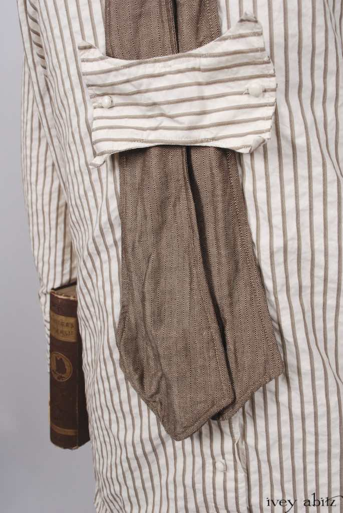 Fairholme Shirt in Antique Parchment Raised Striped Cotton; Fairholme Necktie in Antique Parchment Herringbone Weave; Hopewell Frock in Antique Parchment Washed Linen.   Ivey Abitz Bespoke Clothing.