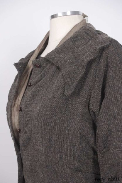 Chittister Duster Coat in First Edition Puckered Striped Weave; Fairholme Necktie in Antique Parchment Herringbone Weave; Fairholme Frock in First Edition and Ink Ethereal Plaid Cotton.   Ivey Abitz Bespoke Clothing.