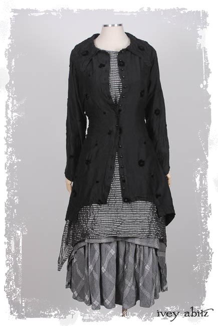 Chittister Shirt Jacket in Ink Embroidered Velvet-on-Silk; Wildefield Frock in Silvery Moon Checked Silk Organza; Blanchefleur Frock in Silvery Moon Embroidered Spring Weave.  Ivey Abitz Capsule Collection 2019-1 Look 4