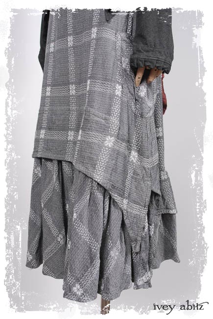 Blanchefleur Frock in Silvery Moon Embroidered Spring Weave; Porte Cochere Sash in Springrose Yarn Dyed Linen; Elliot Jacket in Everyday Grey Sporting Knit.  Ivey Abitz Capsule Collection 2019-1 Look 5
