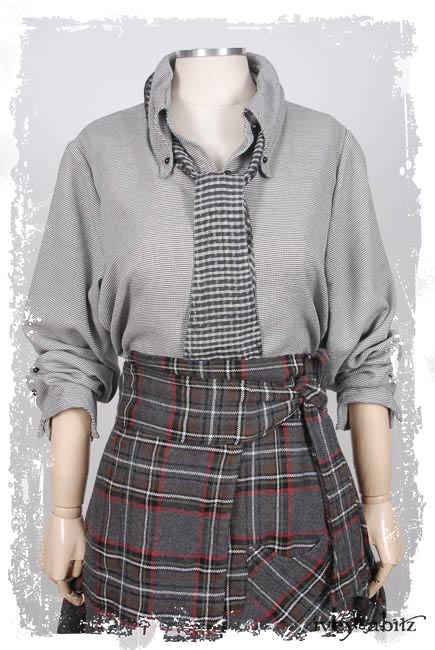 Camille Shirt in Everyday Grey Houndstooth; Fairholme Necktie in Silvery Moon Checked Silk Organza; Highlands Skirt in Springrose Plaid Weave.  Ivey Abitz Capsule Collection 2019-1 Look 7