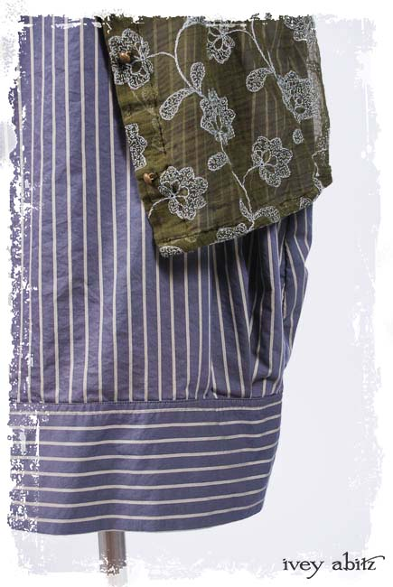 Look 2: Coulson Coat Dress in Floral Embroidered Gauze; Coulson Frock in Lavender Grey Garden Stripe Poplin; Clotaire Sash in Floral Netted Lace. Ivey Abitz Spring Summer 2019