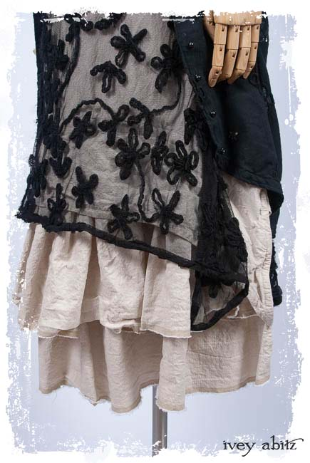Look 3: Truitt Duster Coat in Black Embroidered Eyelet; Wildefield Frock in Black Floral Netted Lace; Clotaire Sash in Black Floral Netted Lace; Limited Edition Trelawny Frock in Gardenia and Sand Washed Stripe. Spring Summer 2019