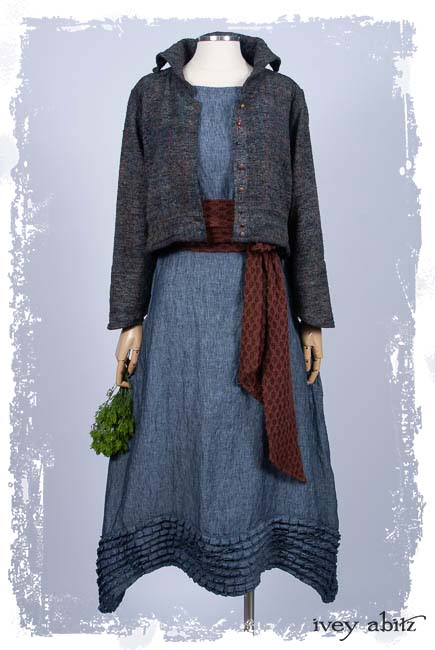 Look 5: Eugenia Jacket in Bouquet Old World Weave; Fairholme Sash in Iced Tea Stretchy Lace; Thatched Frock in Fresh Water Washed Linen; Cilla Slip Frock in Black Silk Knit. Ivey Abitz Spring Summer 2019