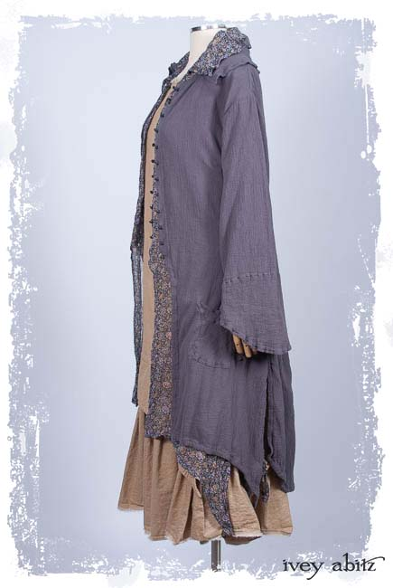 Look 10: Elsie Duster Coat in Lavender Crinkled Gauze; Elsie Vest in Lavender Floral Weave; Limited Edition Blanchefleur Frock in Sun and Sand Washed Stripe. Ivey Abitz Spring Summer 2019