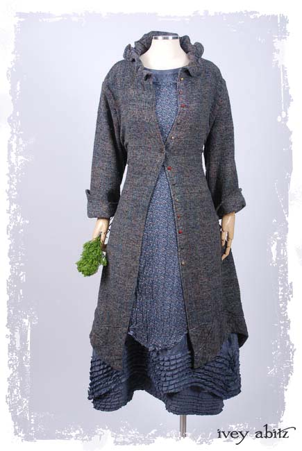 Look 11: Grasmere Duster Coat in Bouquet Old World Weave; Nook Frock in Fresh Water Mottled Silk Chiffon; Thatched Frock in Fresh Water Washed Linen; Cilla Slip Frock in Black Silk Knit. Ivey Abitz Spring Summer 2019