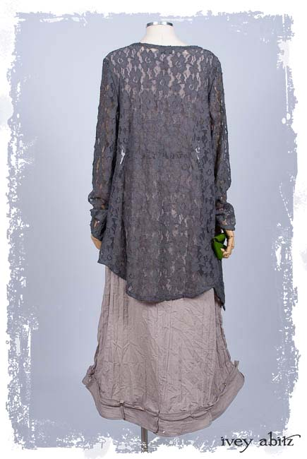 Look 13: Cavendish Cardigan in Grey Garden Embroidered French Lace; Chevallier Frock in Taupe Rose Crinkled Weave. Ivey Abitz Spring Summer 2019