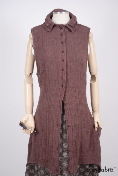 Inglenook Vest - a bespoke design shown in a look by Ivey Abitz