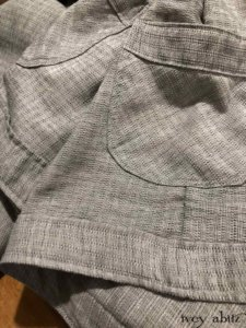 Montague Trousers in Misty Fog Raised Striped Weave   by Ivey Abitz