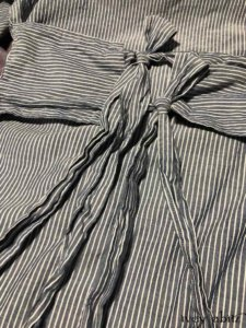 Back Ties on a Porte Cochere Shirt Jacket in Morning Sky Striped Voile    by Ivey Abitz