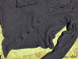Elliot Jacket in Onward Blue Puckered Knit with Antique Wooden Buttons, Original Patina, Early 1900s.    by Ivey Abitz