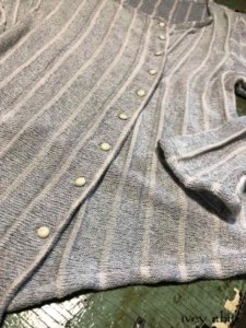Cavendish Cardigan in Morning Sky Soft Striped Knit with Antique Wooden Composition Buttons, Circa Early 1900s.     by Ivey Abitz