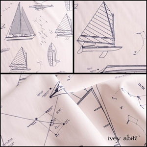 Description: If you don't already know this about Ivey Abitz, we love architecture and architectural drawings. But architectural drawings for boats? What could be better for our limited edition collection Content: 100 percent cotton, woven in Italy. All season weave.Care: Simply hand wash or put through machine delicate cycle in cold water with a plant based detergent. We suggest using a natural fabric softener to maintain the softness we have washed into it. Tumble dry on extra-low heat with our artisan wool dryer balls to keep the relaxed effect that is featured in the Look Book.