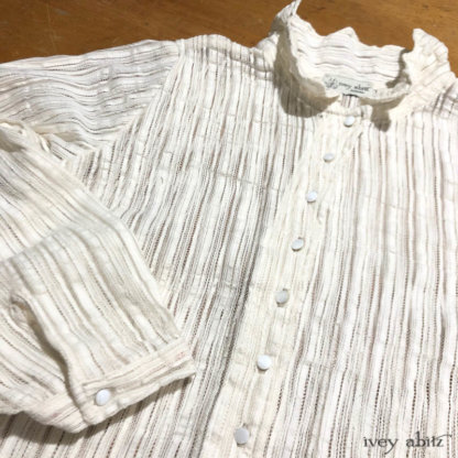 Crest Shirt in a striped weave. Adorned with antique wooden composition buttons, circa early 1900s.