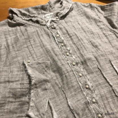 The Glenclyffe Shirt is especially fabulous in a double layered gauze. Adorned with antique buttons. This particular shirt is headed to its new home in Canada.