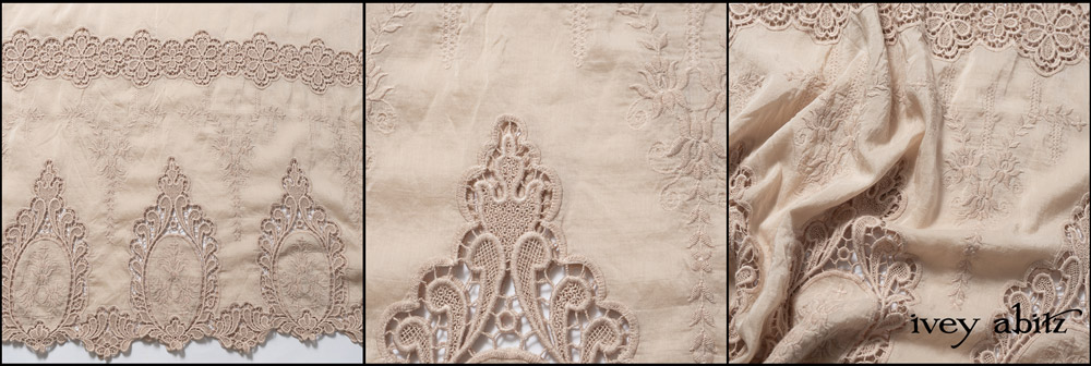 Peach Venetian Embroidered Voile