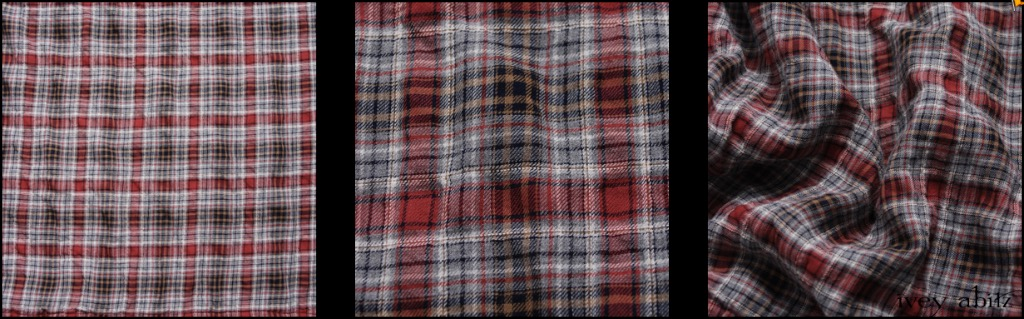 Red Door Wispy Plaid - Description: We love a good plaid. This one has it all. Yarn dyed muted loveliness, puckering in the plaid, softness against the skin. It is very lightweight, yet it's still opaque. An ideal choice for a base layering frock or whimsical everyday shirt.