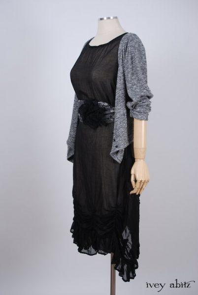 Clemmie Frock in Black Wispy Silk Voile - Size Medium
