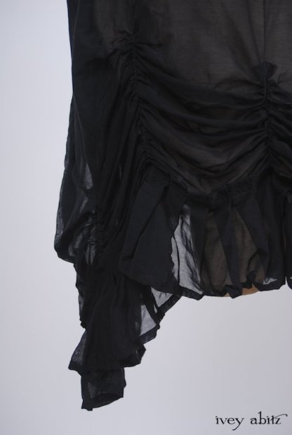 Clemmie Frock in Black Wispy Silk Voile - Size Medium