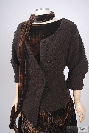 Elliot Jacket in Nubby Wool Cardigan Knit - Size Extra-Small/Small