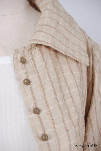 Elsie Duster Coat  in Antiqued Embroidered Plaid Silk  - Size Medium