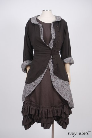 Fennefleur Frock in Feather Brown Washed Linen – Size Medium 1