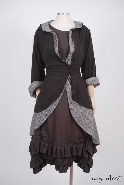 Fennefleur Frock  in Feather Brown Washed Linen - Size Medium