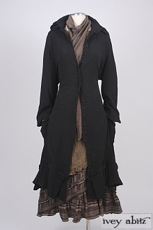Inglenook Duster Coat in Inkwell Stretchy Jacquard - Size Large