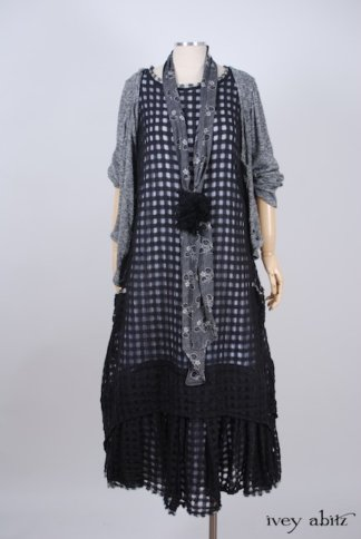Limited Edition Blanchefleur Frock in Black Checked Challis - Size Medium