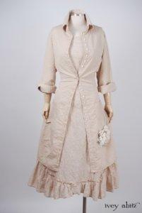 Phinneus Coat Dress in Pea Tea Striped Voile – Size Medium 2