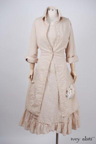 Phinneus Coat Dress in Pea Tea Striped Voile – Size Medium 1