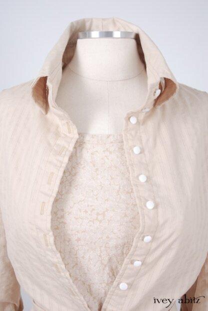 Phinneus Coat Dress in Pea Tea Striped Voile - Size Medium