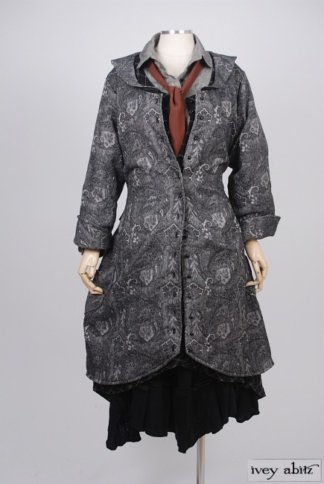Truitt Duster Coat in Inkwell Cotton Brocade – Size Small/Medium 7
