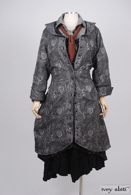 Truitt Duster Coat in Inkwell Cotton Brocade - Size Small/Medium