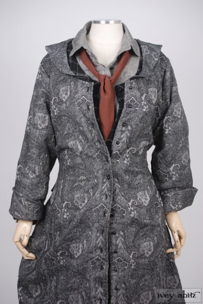 Truitt Duster Coat in Inkwell Cotton Brocade - Size Small/Medium
