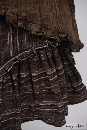 Windrush Frock in Fawnwood Textured Striped Cotton - Size Extra-Large