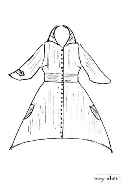 Baudelaire Duster Coat  in Inkwell/Harvest Moon Embroidered Striped Cotton - Size Medium