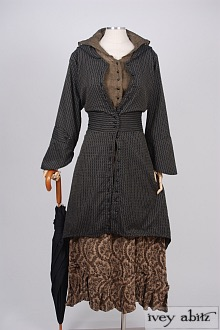 Baudelaire Duster Coat in Inkwell/Harvest Moon Embroidered Striped Cotton – Size Medium 1