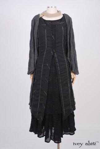 Highlands Frock in Blackbird Embroidered Striped Challis – Size Medium 1