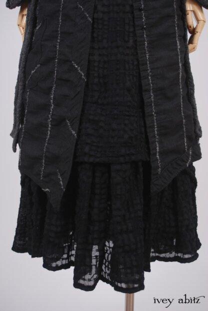 Highlands Frock in Blackbird Embroidered Striped Challis - Size Medium