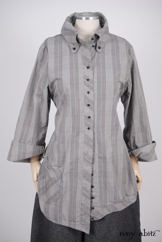 Highlands Shirt in Sparrow Grey Plaid Poplin - Size Medium