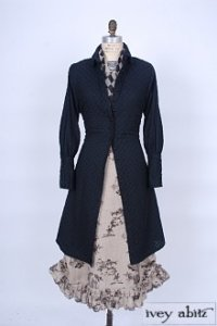 Coulson Coat Dress in Soot Embroidered Tudor Window Pane – Size Medium 6