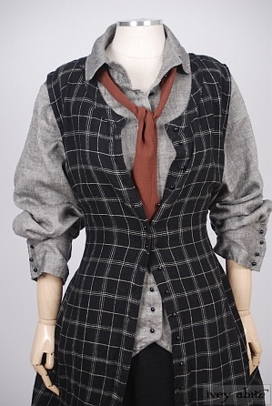 Truitt Frock in Inkwell Plaid Silk Linen - Size Medium