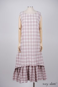 Blanchefleur Frock in Rose Crushed Plaid Weave - Size Large