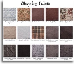 Fabric Chart for Ivey Abitz Bespoke Dresses