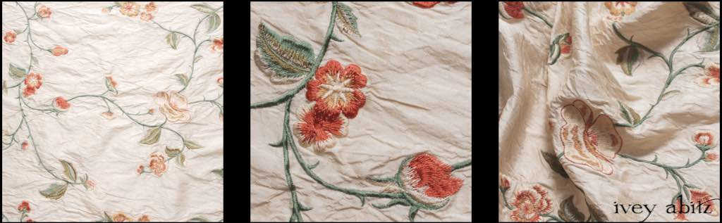 Shore Flower Cream Embroidered Washed Silk by Ivey Abitz