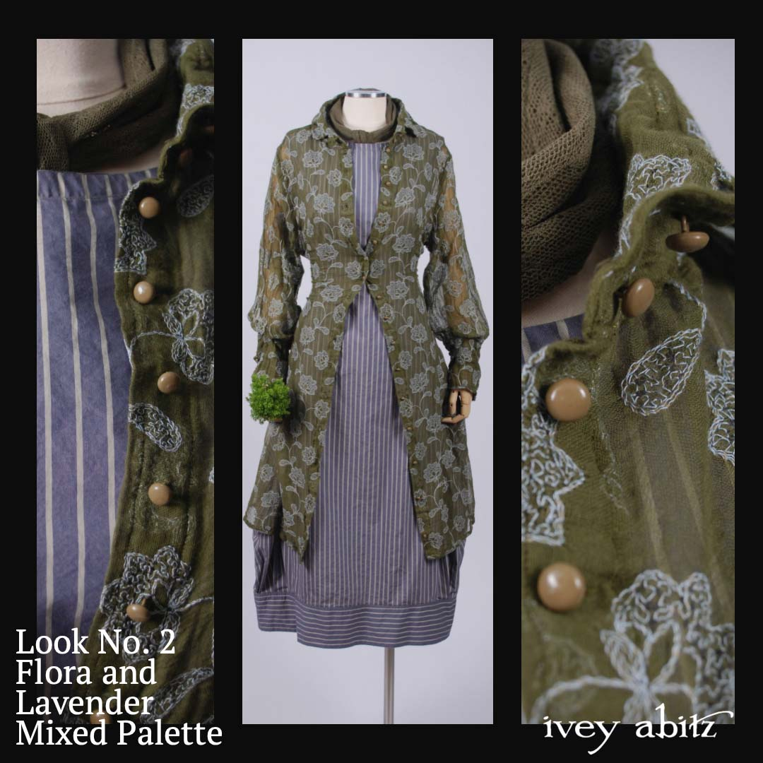 Joy in Flora and Lavender. This juxtaposition of warm green with cool lavender blue creates a harmonious tension that lifts the spirit. Oh the joy in this pairing.When you combine the Coulson Coat Dress and Coulson Frock, you'll be assured of a singing combination of jubilant spring and summer hues.