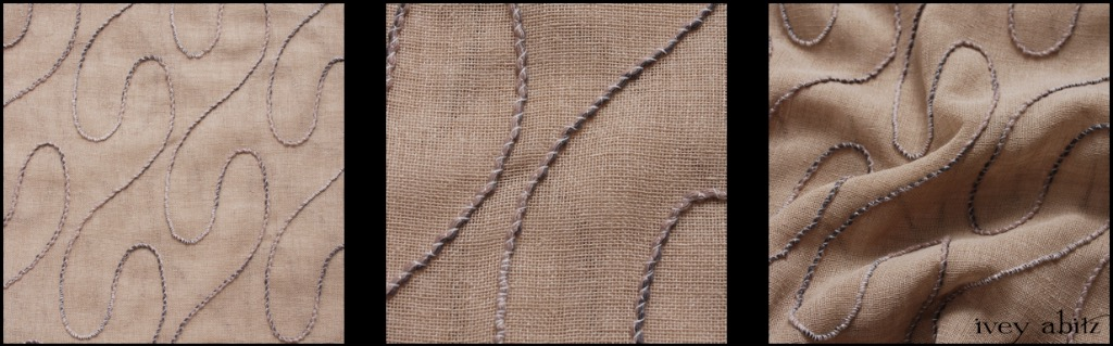 Stone Cottage Embroidered Gauze - Description: The scrollwork design is reminiscent of ironwork in historic gates and fences, and it's cleverly attached to the linen gauze base. The petite cording is wrapped in threads, and those threads get sewn down into the gauze base. A mix of our Stone Cottage hue with a hint of cream and light grey. This weave has been set aside for our layering frocks: The Glenclyffe, Nook, Wildefield, and Wrennie.