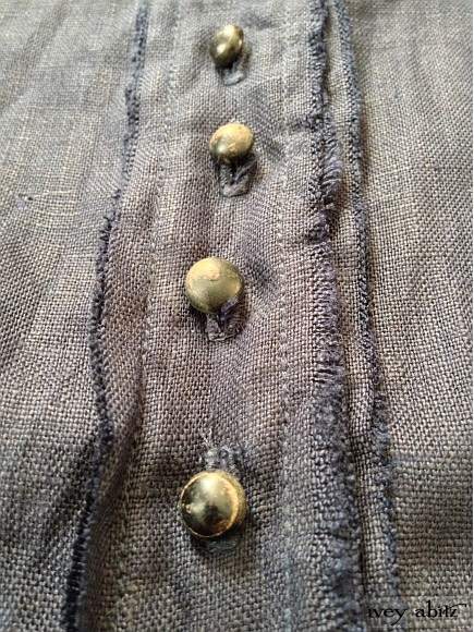 Antique wooden buttons circa late 1800's with original patina. Raw edges on the Pineyrie Vest.